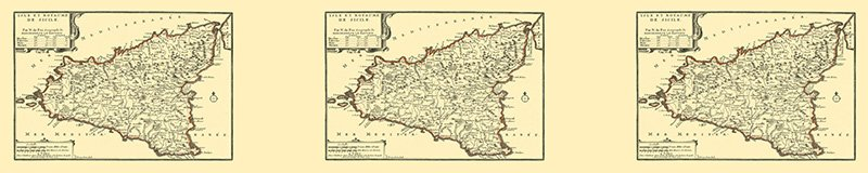 an old map of Sicily dating back to the Bourbon occupation; Sicilian occupation all around