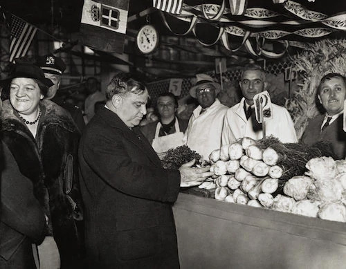 Mayor La Guardia at the market in New York
