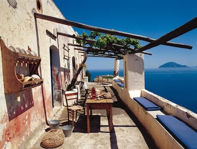 terrace of a beautiful trattoria in the Eolian