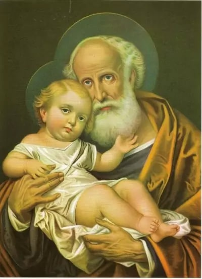Saint Joseph with child, fava bean in the back
