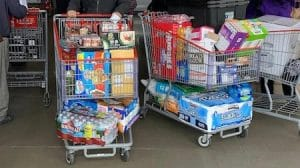 overfull shopping carts