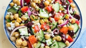 a Mediterranean salad with tinned and fresh ingredients