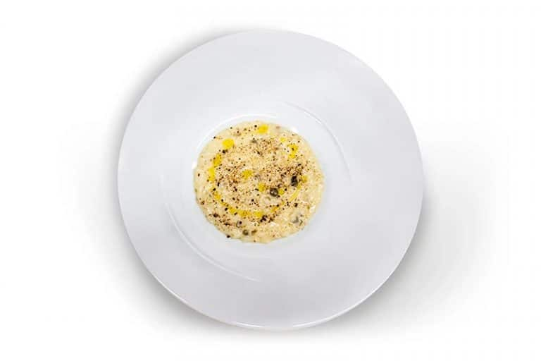 Risotto with capers and coffee