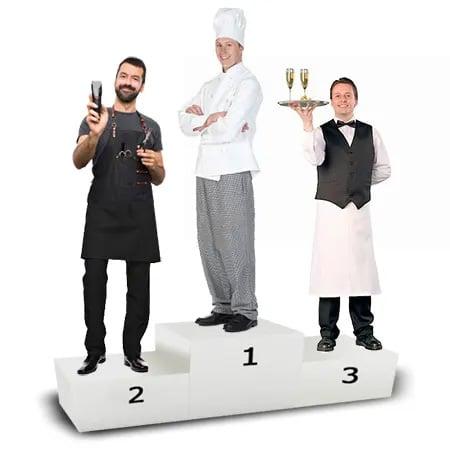 podium chef, waiter and wine guy