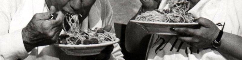 people eating pasta
