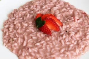 strawberry risotto, a surprisingly balanced dish