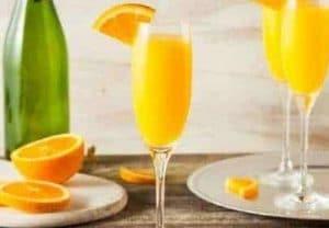 mimosa, sparkling wine and orange juice