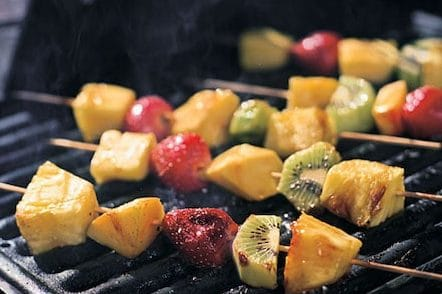 fruit skewer on the barbecue