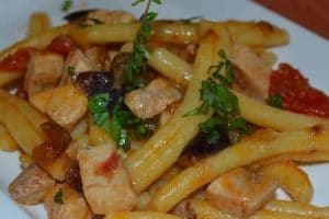 taste the sea in pasta with swordfish and aubergine