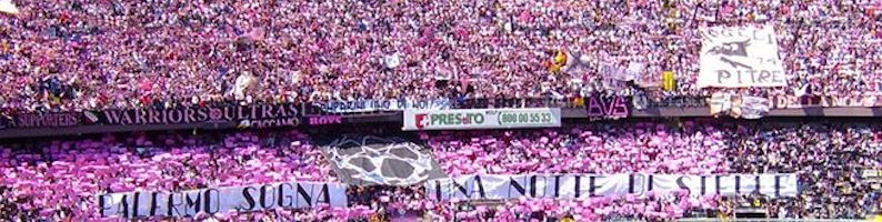 the stadium of Palermo in pink and black