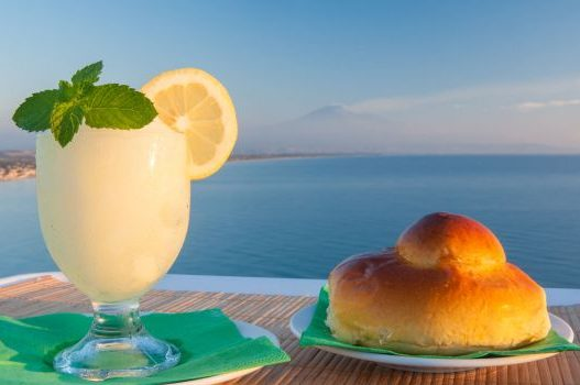 wonderful picture, sea, brioche and granita, lemon granita