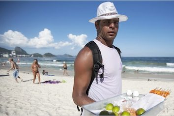 food vendor on a beach in Brazil