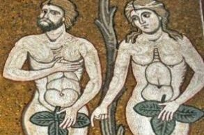adam and eve clad their nudity