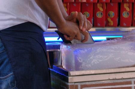 Shaving ice, grattachecca, a proto ice cream popular in Roma