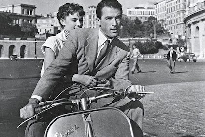 hepburn and peck on a Vespa for Roman Holidays