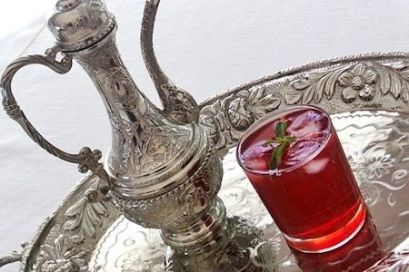 Arabic sherbet, cold, almost frozen fruit juice and rose water
