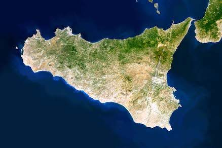 Sicily seen from a sat
