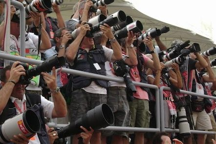 paparazzi waiting for a glimpse of the Radiohead or other famous invitees