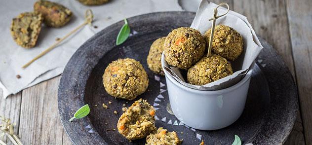 golden brown lentil balls