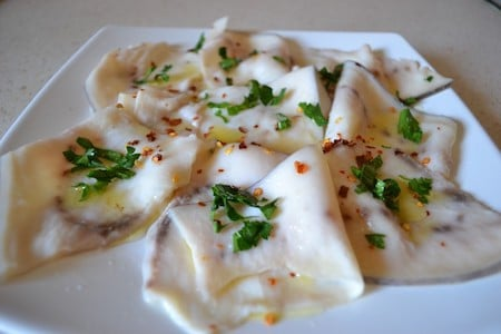 finely sliced swordfish, aka carpaccio