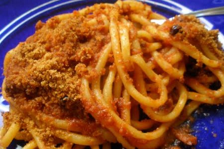 groovy pasta with toasted breadcrumb and anchovy