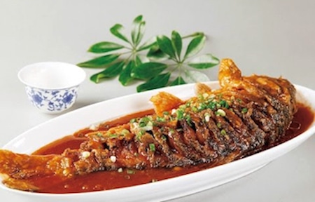 fish prepared by the chef