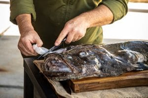 cleaning monkfish