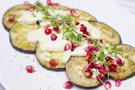 aubergine and pomegranate seeds